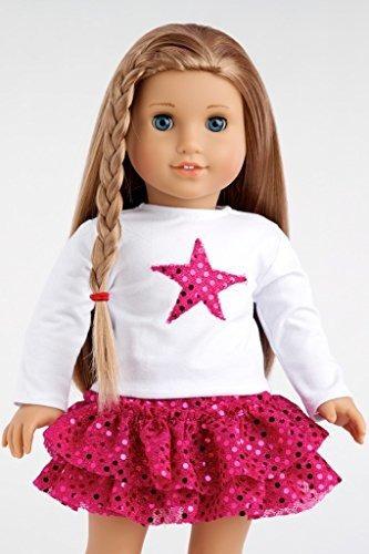 pink star 3 piezas traje blanco blusa rosa falda y hot pink