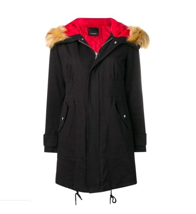 finest selection 83387 4c8b8 Pinko Parka Con Capucha En Algodón De Color Negro De Mujer