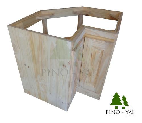 pino ya - bajo mesada rinconero / esquinero pino 0,80 x 0,80