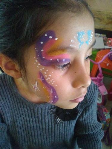 pintacaritas y tatuajes con glitter