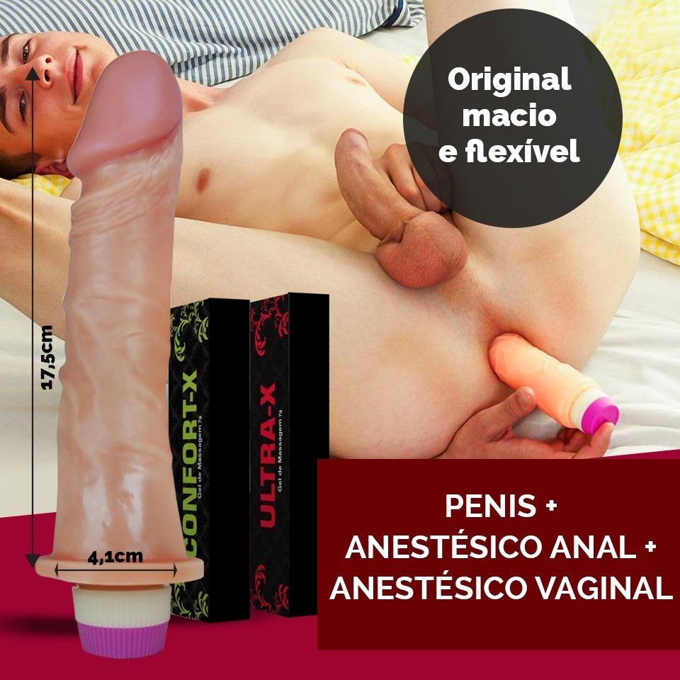 Anal Borracha pinto de borracha vibrador + anestésico anal e vaginal