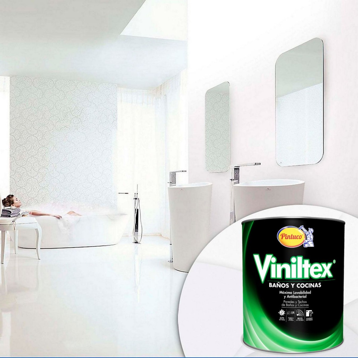 Pintuco Pintura Viniltex Blanco Satinado Banos Y Cocina 46000 - Pintura-baos-y-cocinas