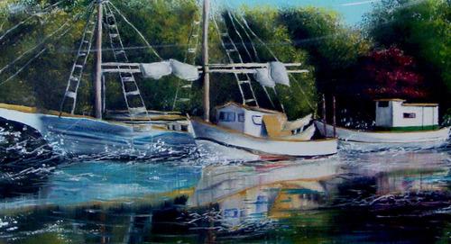 pintura a óleo barco paisagem