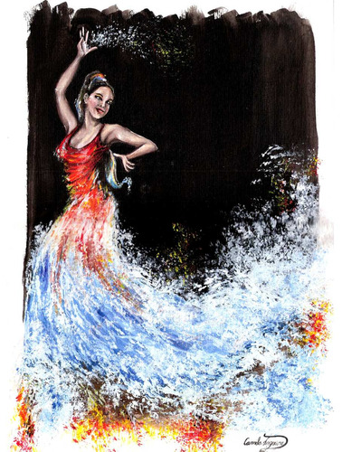 pintura a óleo dança água