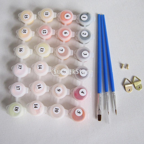 pintura a óleo por números de material lona para aprender