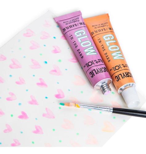 pintura acrilica brillo en la oscuridad set de 10 colores