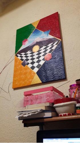 pintura acrilica  los 5 elementos  por tulio clemente 50x70