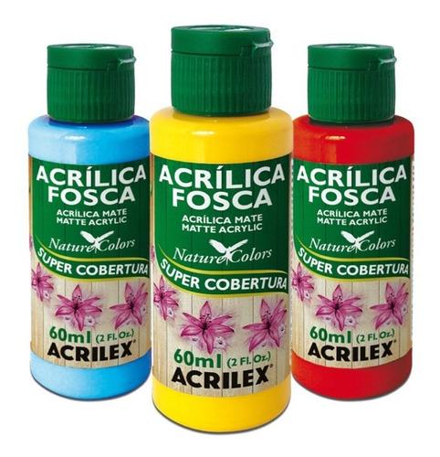 pintura acrílica mate acrilex 60ml paleta 1 - mosca