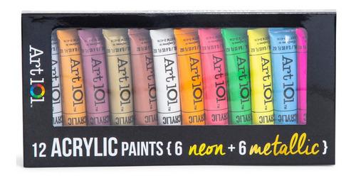 pintura acrílica neón y metalizada set de 12 reaccion luz uv