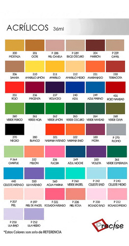 pintura acrilica. set de 20 colores 36ml cerámica mdf papel