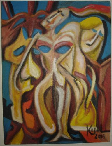 pintura acrílica sobre tela 30x40 sem moldura - máscaras