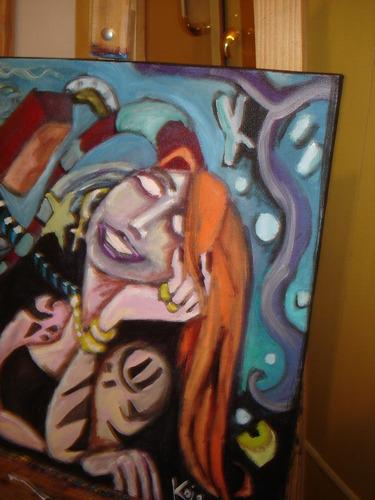 pintura acrílica sobre tela - moça ruiva - 40x50