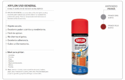 pintura aerosol uso gral. antioxido krylon x 284gr. - 6 un