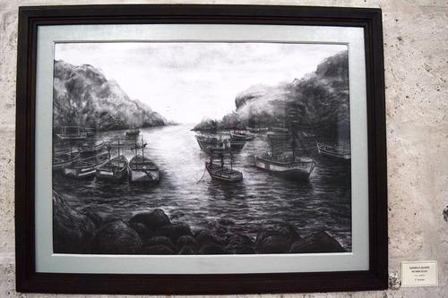 pintura al carbón, puerto quilca 100x80cm, original dibujo
