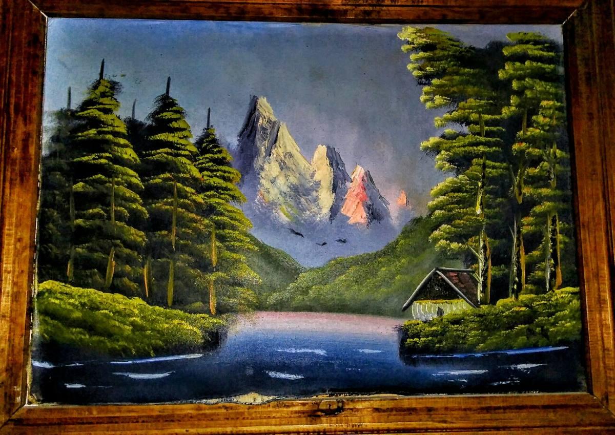 Pintura Al Óleo Antigua Paisaje Autor Desconocido