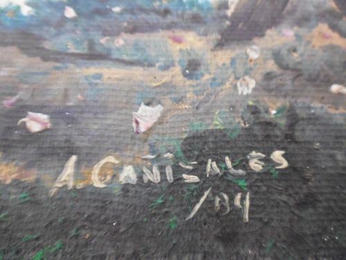 pintura al oleo  bosque ingenuo / artista:  a cañizales 1984