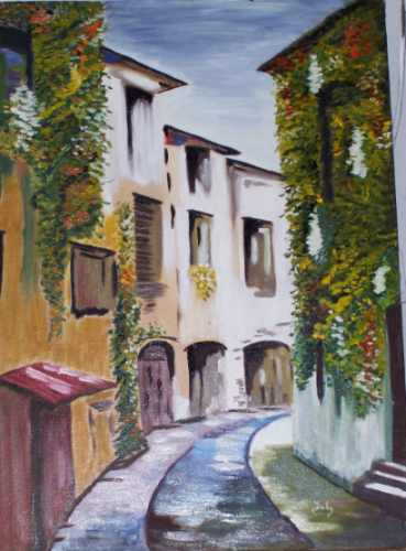 pintura al oleo -callejuela