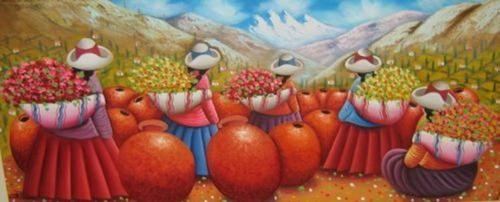 pintura al oleo campo de flores.cuadros para sala hogar.