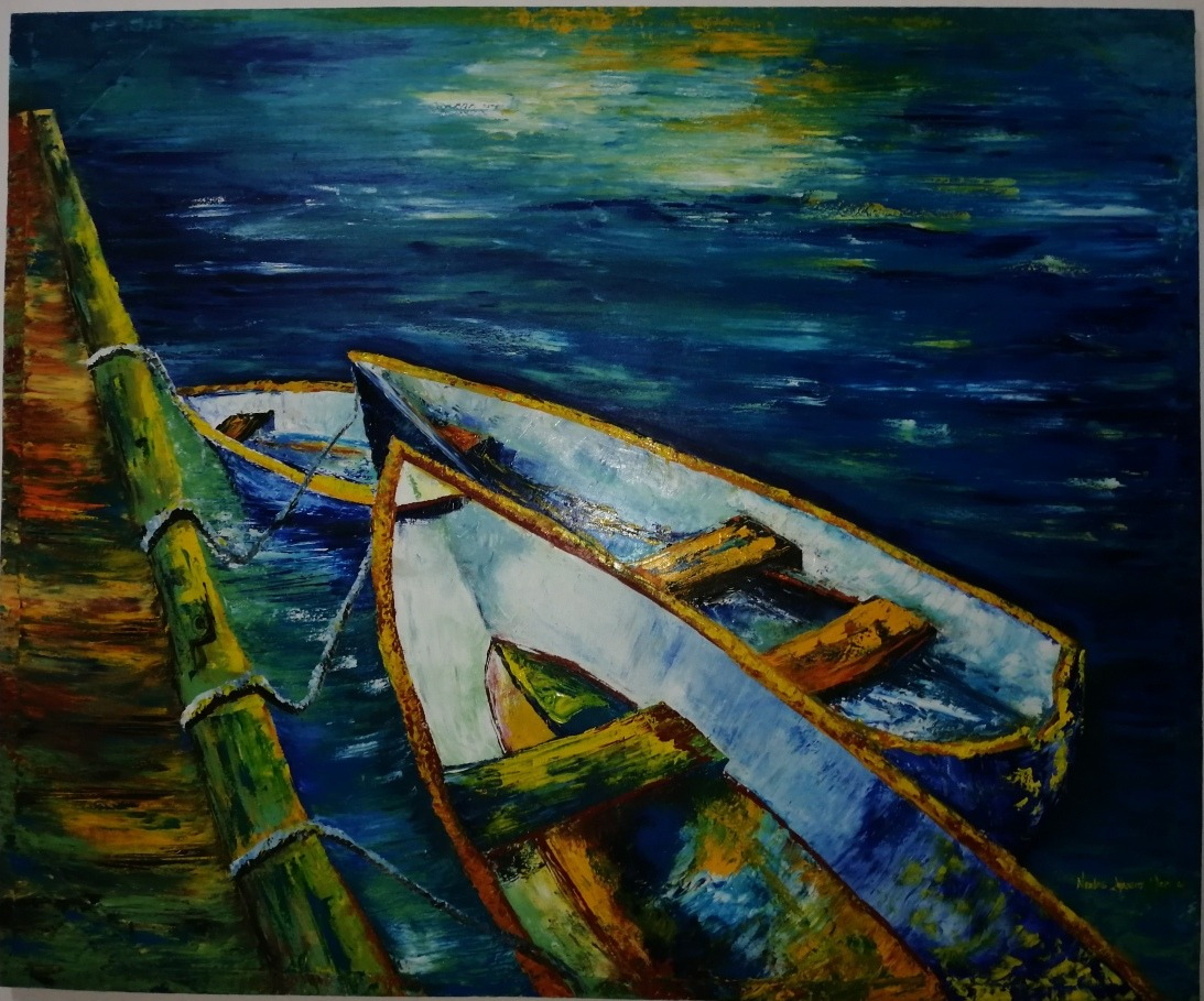 Pintura Al Oleo Canoas Marinas 7 500 00 En Mercado Libre