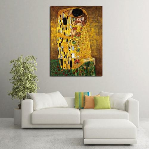 pintura al óleo colorida retro gustav klimts beso sin marco