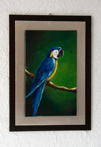 pintura al óleo de guacamaya azul con marco doble