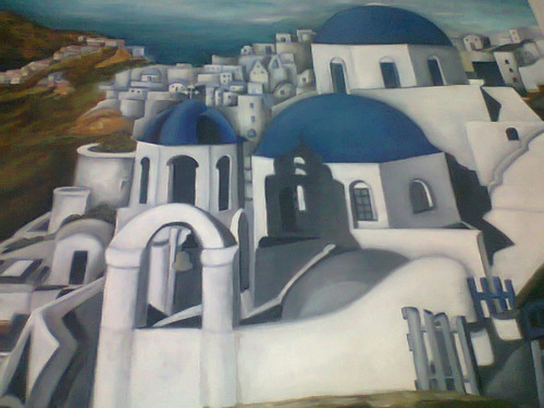 pintura al oleo de paisaje mediterraneo exelente oprtunidad!
