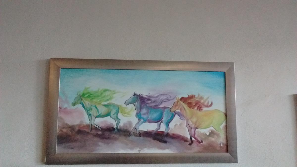 Pintura Al Oleo Enmarcada 3 Corceles, 120 Cm X 70 Cm Enmarca ...