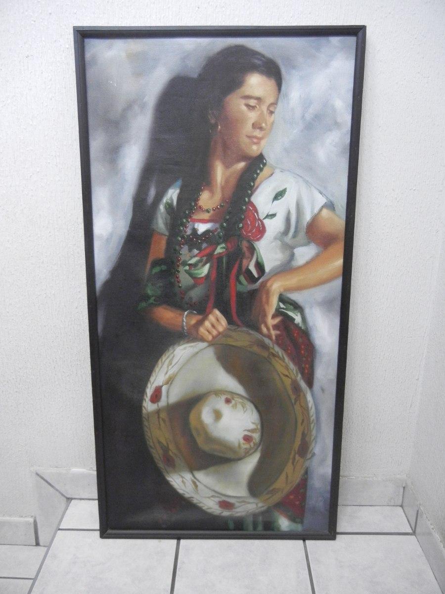 Pintura Al Oleo Enmarcada De Mujer Vestida De Charro - $ 2,450.00 en ...