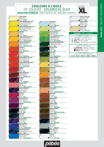 pintura al oleo fina pebeo xl 37 ml. 50 colores disponibles