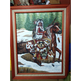 Pintura Al Óleo Jefe Indio
