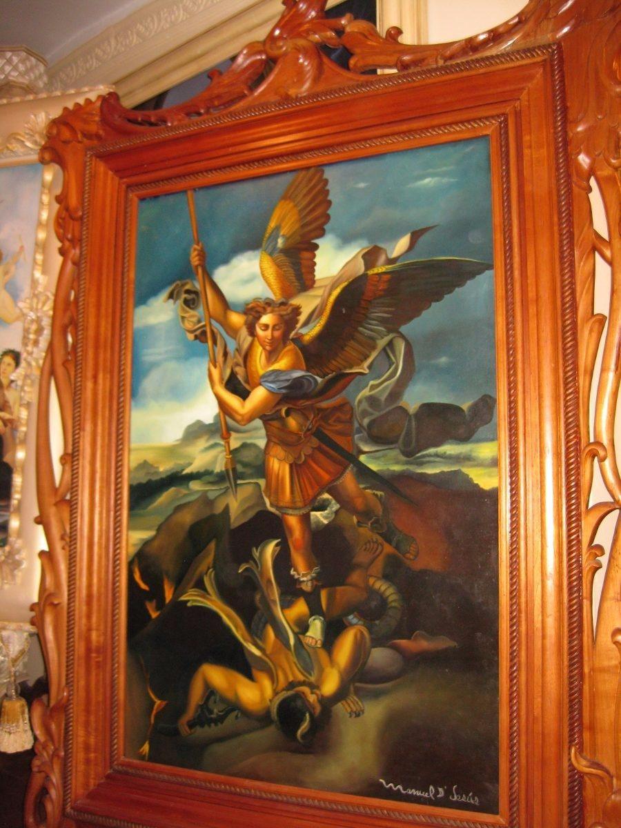 Pintura Al Oleo Marco De Cedro San Miguel Arcangel - U$S 17,000.00 ...