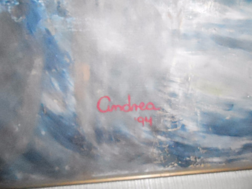 pintura al óleo mujer en la playa 1.35 mts x 95 cms