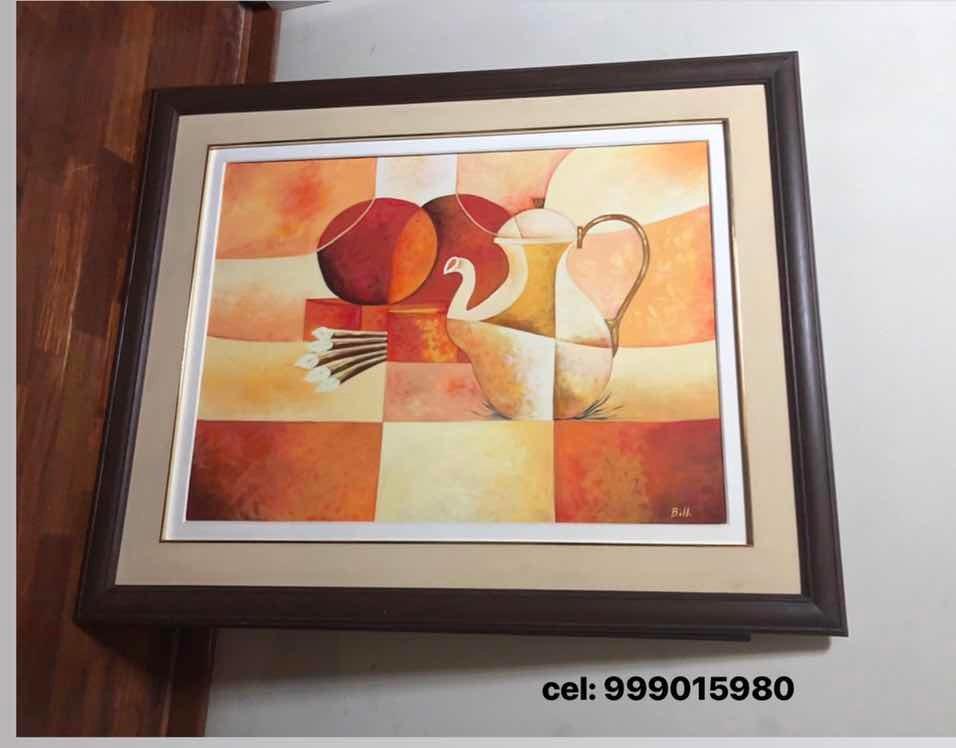 Pintura Al Oleo Para Comedor Enmarcado - S/ 350,00 en Mercado Libre