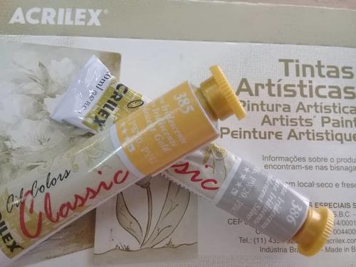 pintura al oleo plateado y dorado acrilex (2 unidades)