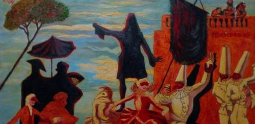 pintura al oleo sobre tela: carnaval en venecia (70x50)