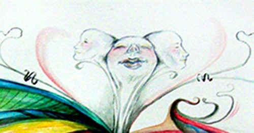 pintura aquarela cabeças surrealista