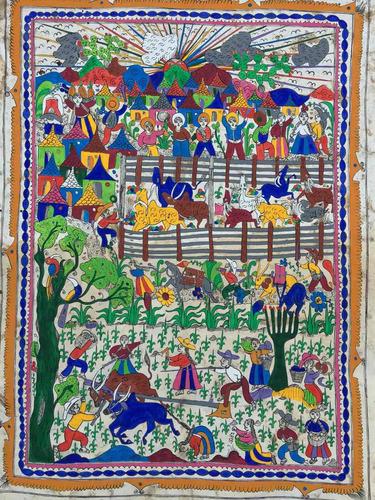 pintura auténtica antigua hecha a mano en papel amate otomí