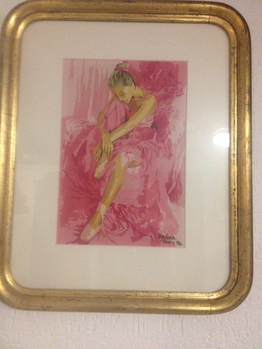 Pintura Bailarina Pastel Firmada Marco Hilo Oro Madera - $ 3,950.00 ...