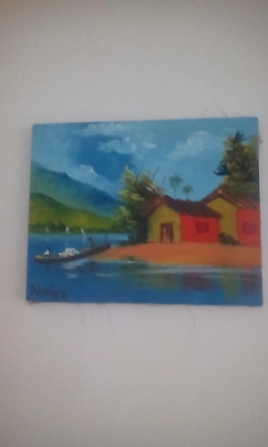 pintura casinha, rio, canoa