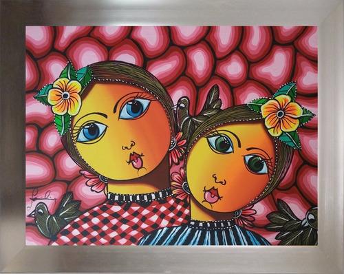 pintura costumbrista campesinas obra de arte cuadro 40x30
