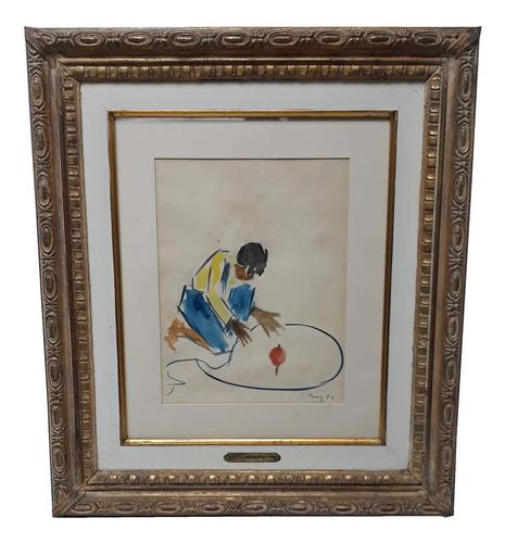 pintura cuadro cesar rengifo acuarela 33x26 cm autentica