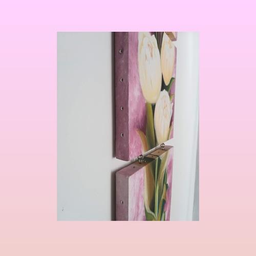 pintura cuadro tríptico flores en óleo