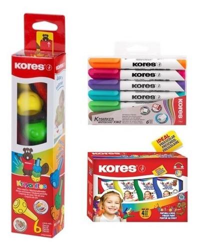 pintura dactilar+ crayones+marcador para pizarron