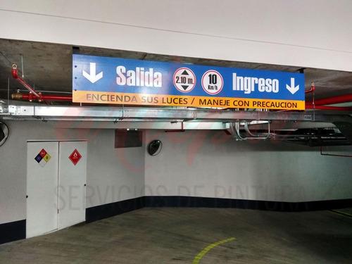 pintura de estacionamientos rotulación publicitaria