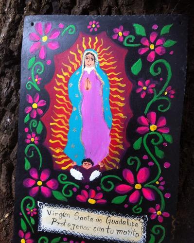 pintura de la virgen de guadalupe sobre chapa