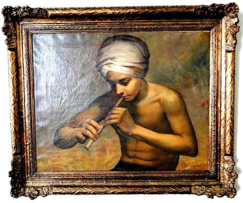 pintura de orlando covello -   encantador de serpente