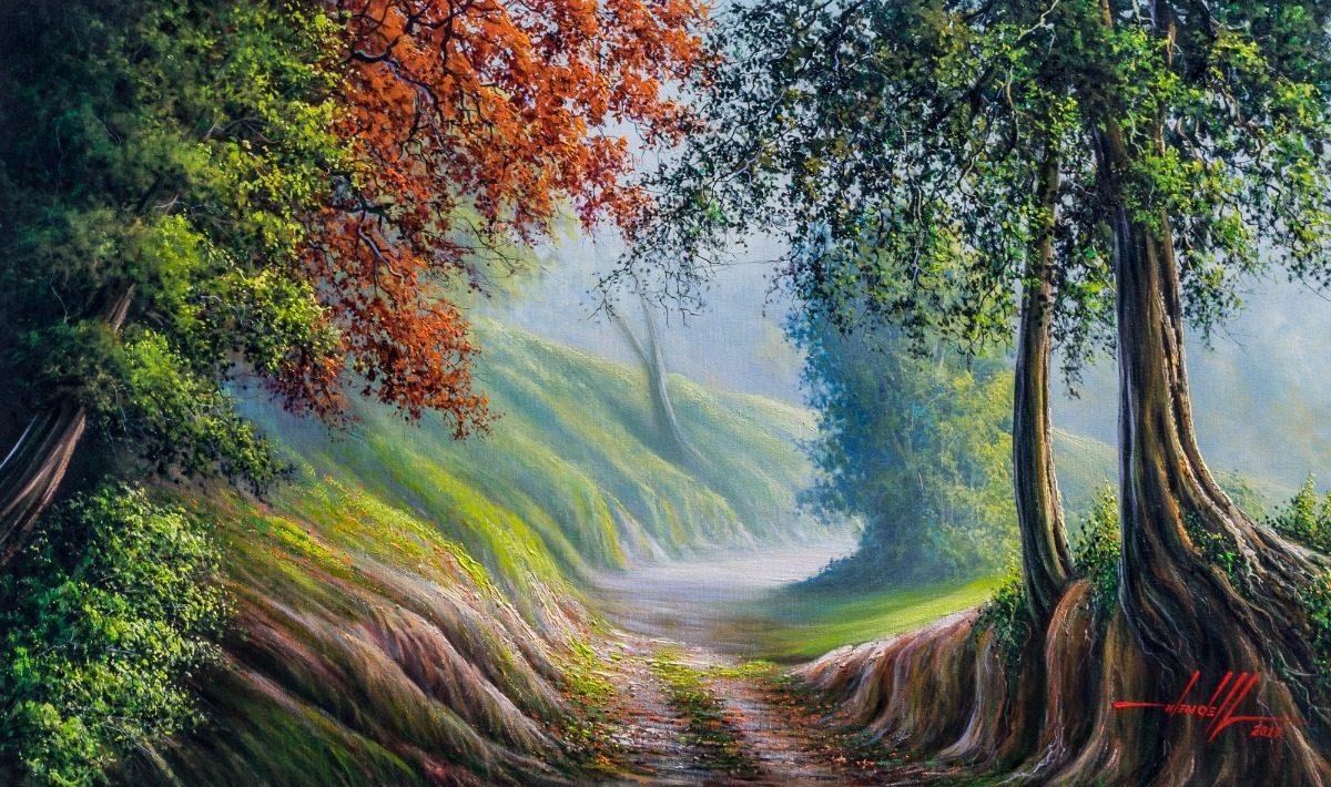 pintura de paisagem em tinta acrílica sobre tela 100 x 60 cm r