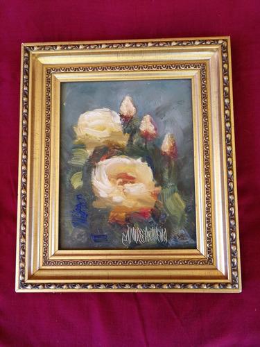 pintura de rosas, óleo en madera (aravena)