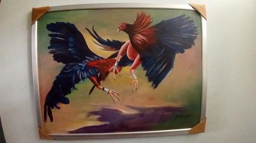 pintura dominicana, los gallos de pelea