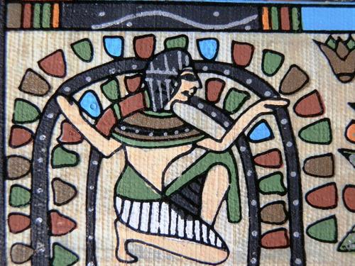 pintura egipcia óleo s/papiro cer. casamento frete grátis